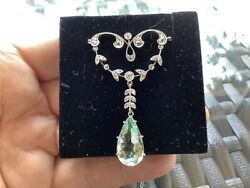 """Vintage 14k W/g And Plat Diamond And Green Amythist Edwardian Pendant/neck 17"""" Chain"""