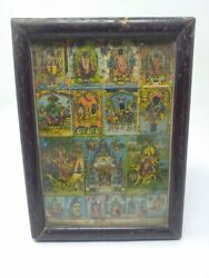 Hindu Religious Vintage Lithograph Of Four Pilgrimage Gods Print Framed 8 X 6and039and039