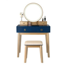 Vanity Makeup Dressing Table Touch Screen Design 3 Lighting Modes Gift Navy Blue