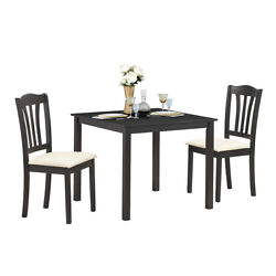 3 Piece Dining Set 2 Solid Wooden Chairs Square Dinning Pub Table Coffee Shop