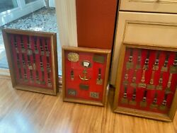 Lot Of 44 Collectible Caterpillar Tractor Company Medals Keychains Framed, Nice