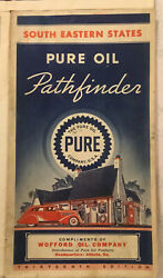 1936 South Eastern States Road Map 13th Edition Pure Oil Company