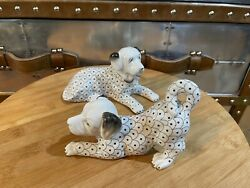 Jeanne Reed's Porcelain Old English Mastiff Dog Figurines 4 Tall And 6 Wide