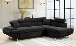 Contemporary Style Black Cushion Sectional Sofa Chaise Plush Seats Couch Fabric