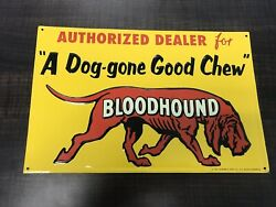 Porcelain Bloodhound Enamel Sign Size 8.5 X 13 Inches