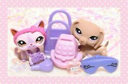 ❤️authentic Littlest Pet Shop Lps 932 933 Dachshund And Shorthair Cat Star Eyes❤️