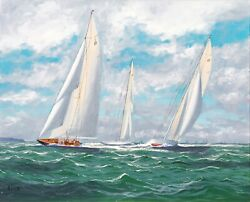 'endeavour' 'shamrock' And 'astra' Racing On The Solent Yacht By George Drury