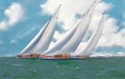'endeavour' 'velsheda' And 'shamrock' Racing On The Solent By George Drury