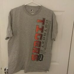 Detroit Tigers Mlb Men's Crew Neck Spell Out T Shirt Size L