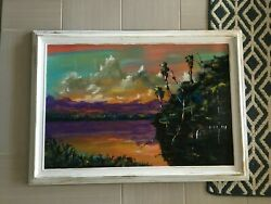 Original Oil On Board Florida Highwayman Painting By M Sears 41 X 30