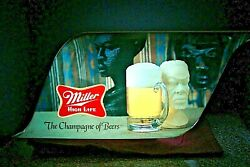 Rare 1970and039s Vintage Black Americana Miller High Life Lighted Beer Sign