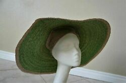 Green Large Asian Conical Hat Woven Straw Rice Farmer Handmade Mexico 22 M