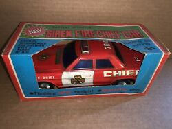 Vintage Battery Operated Tin-litho Siren Fire Chief Bump'n'go Car In Box Works