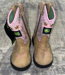 New John Deere Brown/pink Leather Pull On Western Boots Infant Girl Sz 4 M