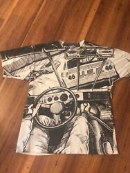 Vintage Rare Nascar All Over Aop Tshirt Art Xl 90s 1992 Accurate