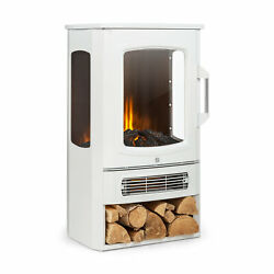 Electric Fireplace Space Heater Home Standing Antique 2000 W Thermostat White