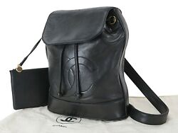 Auth Black Lambskin Leather Shoulder Tote Bag Purse And Pouch 25476a