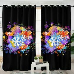 Snowflake Black Frost Flower Winter Window Living Room Bedroom Curtains Drapes