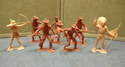 Collection 7 Marx 1960's Toy Cowboy And Indian Figurines 6 Inches In Height