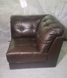 Abbyson Top Grain Brown Leather Section Sofa Corner Piece Only