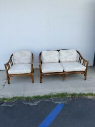 Mcguire Vintage 2-piece And039organic Modernand039 Bamboo Seating