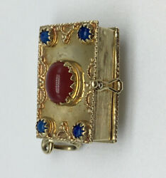 14ct Gold And Agate Etruscan Revival Italian Charm Pendant Pill Box 14k 585