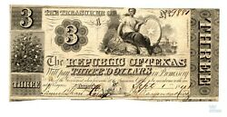 1841 Republic Of Tx 3 Obsolete Currency - Cancelled Pre Civil War