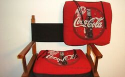 2 Vintage Coca-cola Multi-color Plush Red Fabric Tie-down Chair Pad Cushions