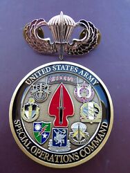 Special Operations Cmd Airborne Jump Wing Badge Pin Delta Force Challenge Coin