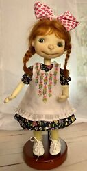"""Boneka 10"""" Floral Dress Embroidered Pinafore Fits Connie Lowe Sprocket Dolls"""