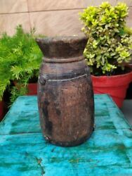 Asian Old Ancient North Indian Wooden Handcrafted Milk/water Containing Pot Jug