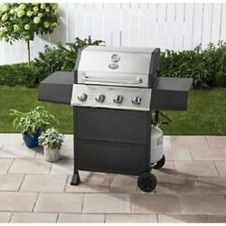 Outdoor Gas Grill 4-burner Propane Bbq Grill Stainless Steel With Wheels Black