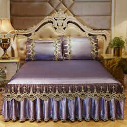 Summer Ice Silk 3pc Lace Bed Skirt European Non-slip Bed Cover Soft Sleeping Mat