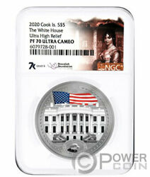 White House Pf70 By Miles Standish 1 Oz Silver Coin 5 Cook Islands 2020