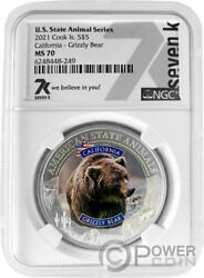 California Grizzly Bear Ms70 Us State 1 Oz Silver Coin 5 Cook Islands 2021
