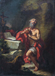 17th Century Italian Old Master Saint Jerome And The Lion In The Wilderness