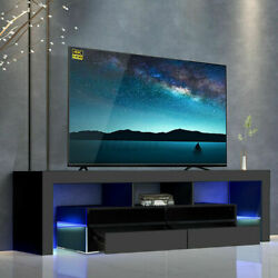 65 High Gloss Led Light Tv Stand Entertainment Furniture Center Console Cabinet