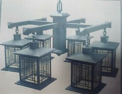 New In Box Rustic Style Mission Style Charcoal 6 Light Chandelier.