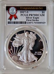 2017 S .999 Silver Eagle Congratulations Set Pcgs Pr70 First Strike Spotted