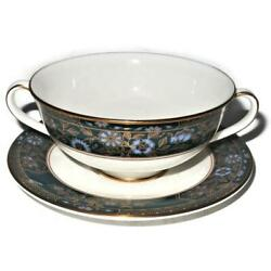 Royal Doulton Carlyle Blue Flowers Gold Leaves Teal Band Cream Soup Bowl And Liner