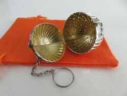 Heavy American Aesthetic Sterling Pumpkin Form Tea Ball Infuser And Pouch C1880s