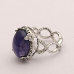 One Of A Kind Tanzanite Gemstone 11.06 Ctw Huge 925 Silver Solitaire Accent Ring
