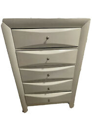 Two White Dressers And A Bed Frame With Two Night Stands