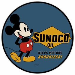 Mickey Mouse Sunoco Motor Oil 24 Round Heavy Duty Usa Made Metal Adv Sign