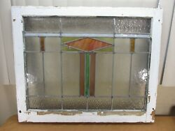 Antique Vtg Leaded Stained Stain Glass Window Panel In Wood Frame 30x25 B