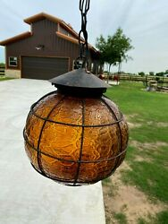 Vintage Spanish Wrought Iron Chandelier Light Fixture Porch Amber Lamp Gothic