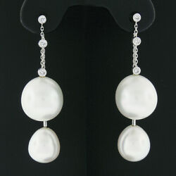 18k White Gold South Sea Pearl And Round Bezel Diamond Double Drop Dangle Earrings