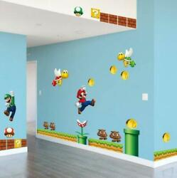 NEW Super Mario Bros Removable Wall Stickers Decal Kids Bedroom Home Decoration
