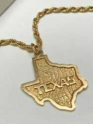 Vintage 14k Gold Texas State Map Pendant Necklace 14k Gold Rope Chainandnbsp