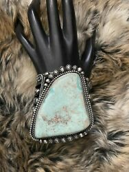 Native American Sterling Silver Dry Creek Turquoise Cuff Bracelet.